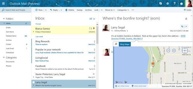 微软电子邮件服务Outlook.com升级 推出多项新功能